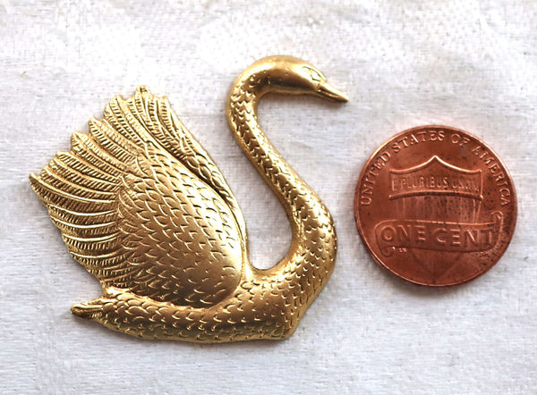 1 swan component, ornament, pendant ,charm, art deco brass stamping, 32mm x 34mm, made in the USA C2701 - Glorious Glass Beads