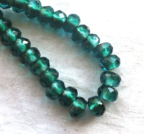 Ten Czech glass roller beads, 9 x 6mm viridian, teal or emerald gold lined, faceted round rondelle beads, big 3mm hole, large holes C08110