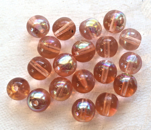 Lot of 25 8mm Chech glass druks, smooth round pink AB druk beads, C3425 - Glorious Glass Beads