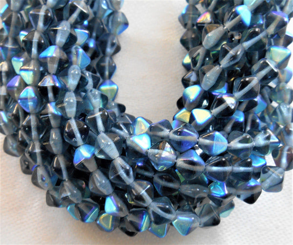 Lot of 50 6mm Montana Blue AB bicones, pressed Czech glass bicone beads, C2750 - Glorious Glass Beads