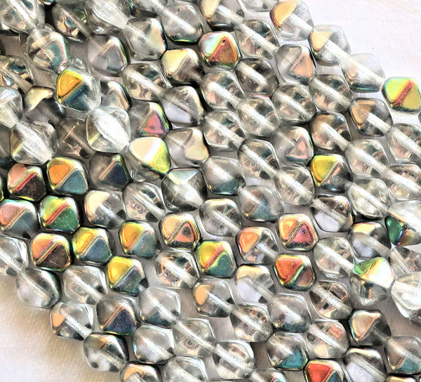 Fifty 6mm Czech glass bicones, crystal luster marea pressed bicone beads C6701 - Glorious Glass Beads