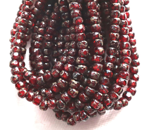 50 4 x 3mm, Tricut, Tri-cut, 3 cut Round Czech glass beads, Garent Red picasso, earthy, rustic 6/0 seed beads C66101