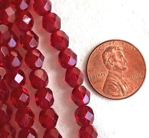 25 6mm Ruby red Czech glass beads, firepolished, faceted round beads, C0625 - Glorious Glass Beads