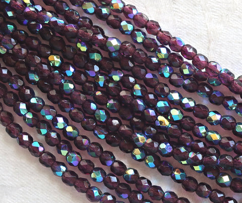 Lot of 50 4mm Dark Amethyst AB Czech glass beads, purple, amethyst, firepolished, faceted round beads, C8550 - Glorious Glass Beads