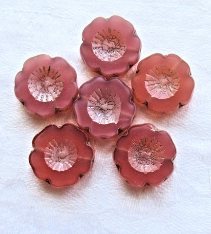 Six 14mm Czech glass flower beads - table cut, carved, translucent milky pink hibiscus Hawaiian flower beads, C00206 - Glorious Glass Beads