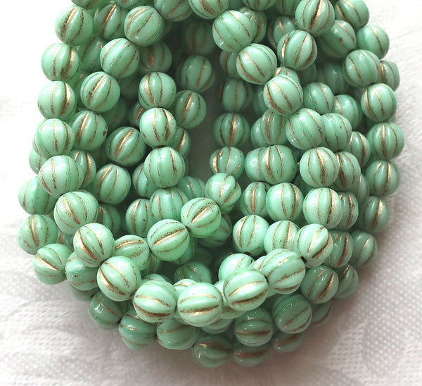 25 Czech glass melon beads, 6mm opaque mint green with gold accents, pressed striped beads C0901 - Glorious Glass Beads