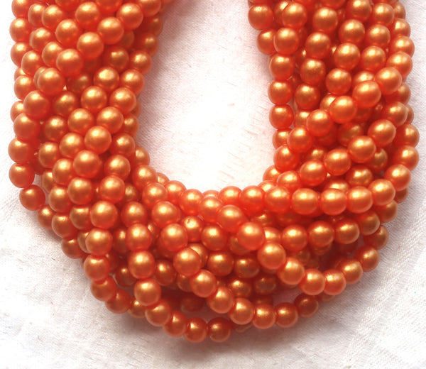 50 6mm Czech glass beads, Sueded Gold Lame Hyacinth, bright orangem tangerine, smooth round druk beads C4950 - Glorious Glass Beads