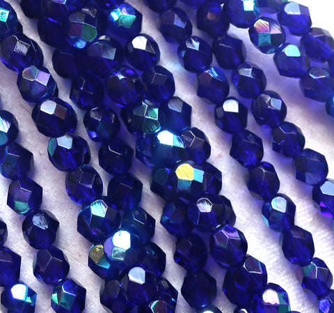 Lot of 25 6mm Czech glass beads, cobalt blue AB firepolished faceted round beads C7525 - Glorious Glass Beads