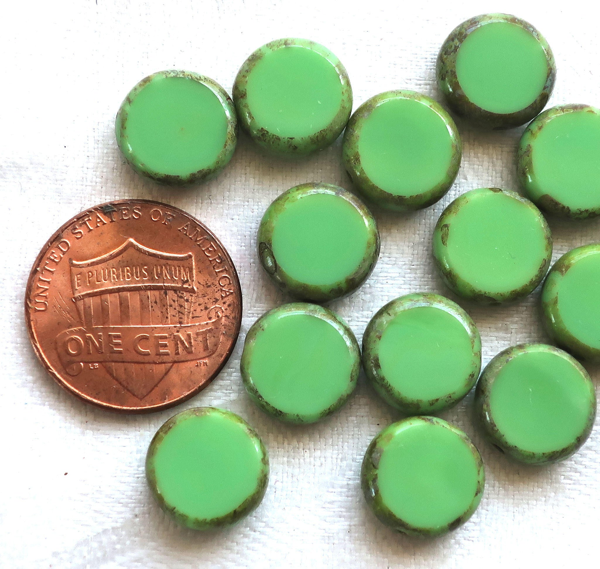 Czech Beads 78-1s Beads Mint Picasso,Coin Beads