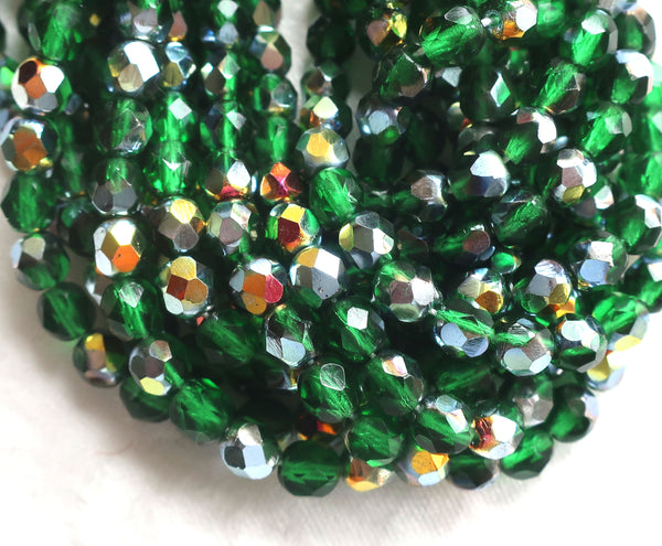 Lot of 25 6mm Marea Emerald Green Czech Glass beads, firepolished faceted round glass beads C0401