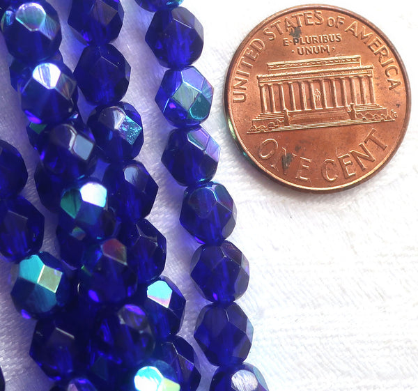 Lot of 25 6mm Czech glass beads, cobalt blue AB firepolished faceted round beads C7525