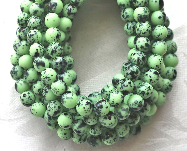 30 6mm Czech glass mint green spotted druk beads, spattered, speckled bird's egg, matte mint green smooth round druks C51130 - Glorious Glass Beads