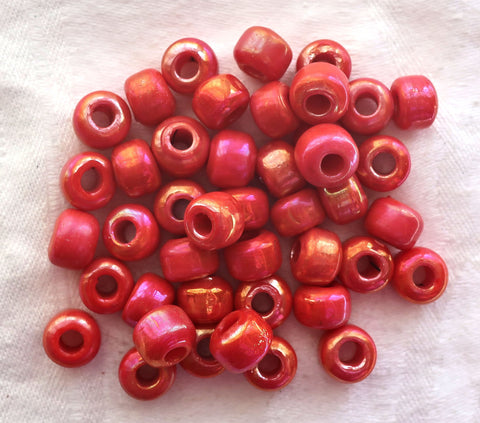25 9mm glass pony beads - opaque red / orange luster roller beads - large approx 4mm big hole bead - Made in India - C5501 - Glorious Glass Beads