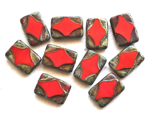 Five 16 x 11mm opaque red Czech glass rectangle beads, , rectangular, carved, table cut beads with a picasso finish C51101 - Glorious Glass Beads