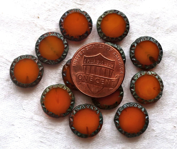 Six Czech glass coin beads, 12mm disc beads, table-cut carved Aztec, Mayan sun rustic, earthy translucent orange, smustard picasso 05101