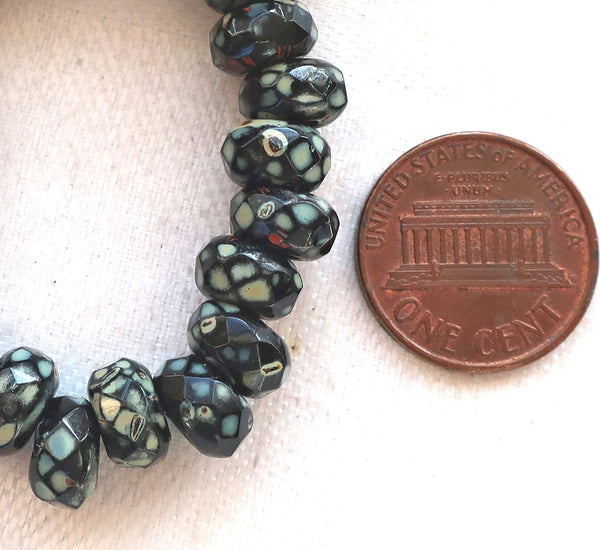 Ten 9mm x 6mm Jet Black Picasso Czech glass beads, faceted round roller, rondelle beads, big 3.5mm hole beads C50110
