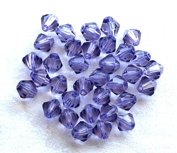 Lot of 24 6mm Dark Tanzanite Czech Preciosa Crystal bicone beads, faceted glass purple, violet bicones C7801