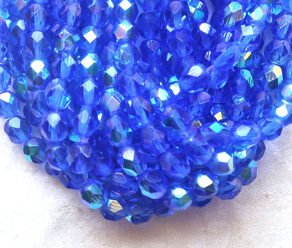 Lot of 25 6mm Czech glass beads, Medium Sapphire Blue AB firepolished faceted round beads C4625