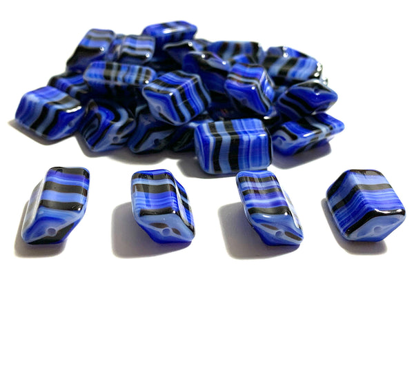 Six Czech glass rectangle beads - 16 x 12mm blue, black, and white striped - 4-sided diamond shaped large, chunky rectangle beads C0005