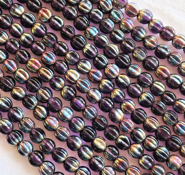 Fifty 5mm Czech glass melon beads - Tanzanite Celsian - Purple - pressed glass beads C2750 - Glorious Glass Beads