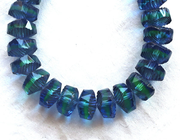 Six Czech glass faceted wavy rondelle beads, large 14 x 6mm sapphire blue & green with bronze accents, chunky rondelles, C99101 - Glorious Glass Beads