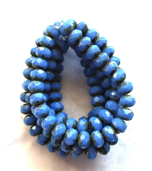 lot of 25 Czech glass faceted puffy rondelle beads, Opaque Cornflower Blue blue Picasso 6 x 8mm rondelles 00301 - Glorious Glass Beads