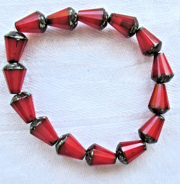 Lot of 15 8 x 6mm Czech glass teardrop beads - opaque red opal picasso - special cut, faceted, firepolished beads C07101 - Glorious Glass Beads
