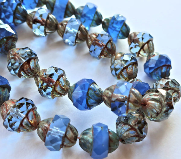 Ten Czech glass turbine beads - 11 x 10mm light and dark sapphire blue mix with a picasso finish C08101 - Glorious Glass Beads