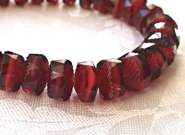 Lot of 6 Czech glass faceted wavy rondelle beads, large 14 x 6mm Garnet Red with white hearts, chunky rondelles, focal beads C05101 - Glorious Glass Beads