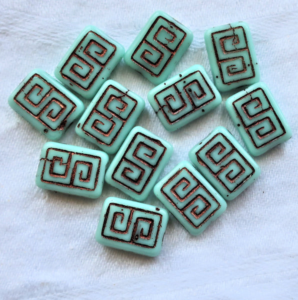 12 Czech glass rectangle beads - Opaque sea foam grreen with a bronze wash - rustic, earthy, Greek key rectangular beads - 13 x 9mm C01101 - Glorious Glass Beads
