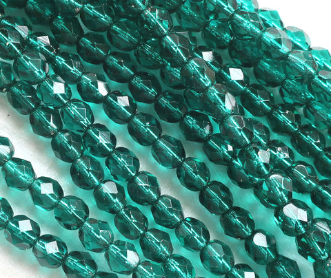 Lot of 25 6mm viridian, teal blue Czech glass beads, silver lined, firepolished, faceted round beads C0325
