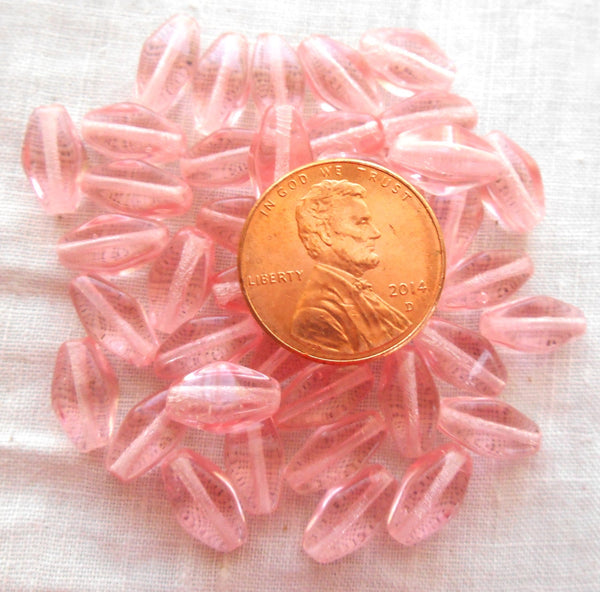 25 11mm x 7mm Rosaline Pink Czech glass lantern or tube beads C1225 - Glorious Glass Beads