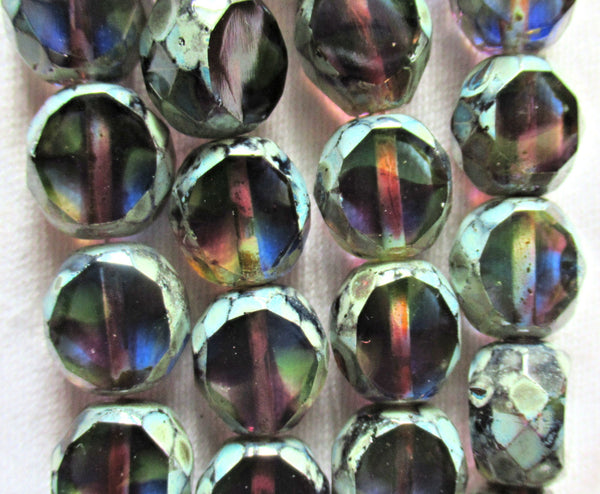 Five 12mm round faceted table cut Czech glass beads - purple blue & green mix picasso 2 cut window beads - chunky statement focal 44101