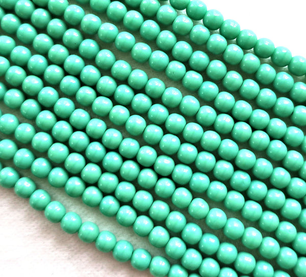 Lot of 100 4mm Opaque Turquoise Green Czech glass druks, smooth round druk beads C0087