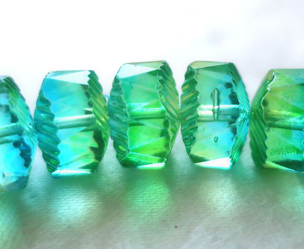 Six Czech glass faceted wavy rondelle beads, large 14 x 6mm aqua blue & lime green AB, chunky rondelles, C18101 - Glorious Glass Beads