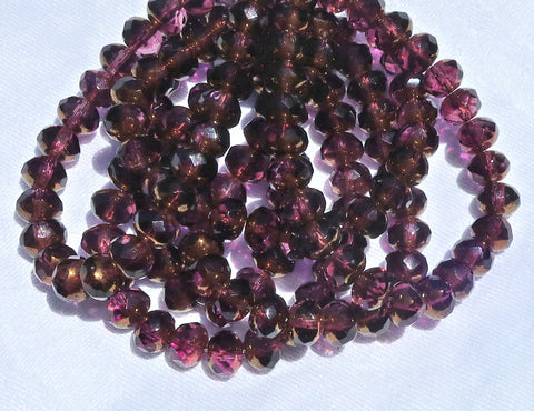 25 Czech glass faceted puffy rondelle beads - 5 x 7mm transparent & purple / amethyst with a bronze picasso finish rondelles C00201 - Glorious Glass Beads