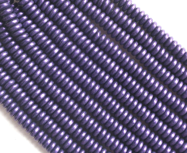Lot of 50 6mm Czech glass rondelle beads, matte metallic purple suede flat spacers or rondelles C3801