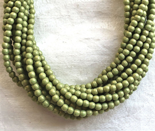 Lot of 100 3mm opaque green Czech glass druks, Pacifica Avocado smooth round druk beads C8901 - Glorious Glass Beads