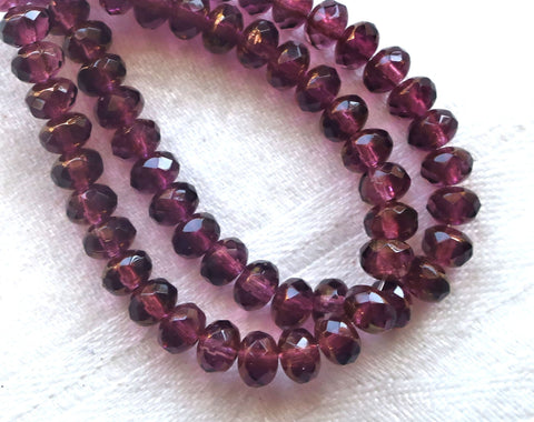 30 small, puffy rondelle beads, purple, amethyst golden luster 3mm x 5mm faceted Czech glass rondelles 53101 - Glorious Glass Beads