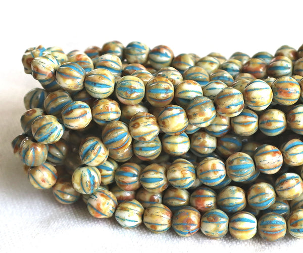 25 Striped ivory, off white & blue melon beads, 6mm pressed Czech glass beads with a turquoise wash C2701 - Glorious Glass Beads