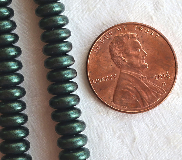 Lot of 50 6mm Czech glass rondelle beads, matte metallic dark forrest green suede flat spacers or rondelles C5701