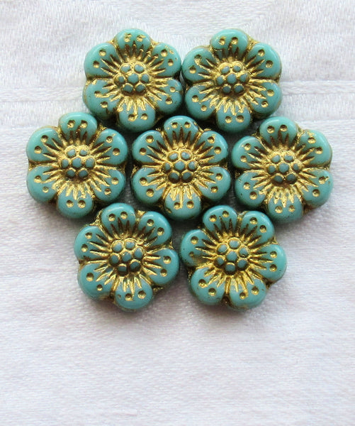 Twelve Czech glass wild rose flower beads - 14mm opaque turquoise blue floral beads with a gold wash C07105 - Glorious Glass Beads