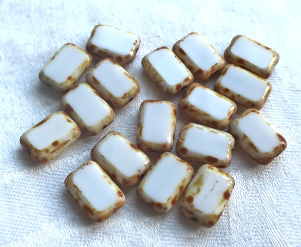 Lot of ten rectangular Czech glass beads, opaque white with a picasso finish, 12mm x 8mm, table cut rectangle beads, C4801 - Glorious Glass Beads