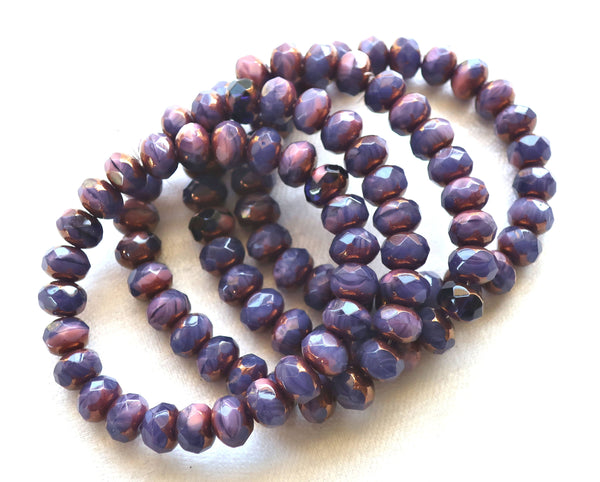25 purple Czech glass puffy rondelle beads, 6 x 9mm, opaque amethyst & pink color mix faceted rondelles, bronze picasso finish C77125 - Glorious Glass Beads