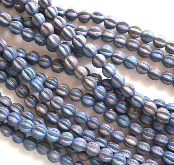 Lot of 50 matte blue iris Czech glass melon beads, 6mm pressed glass beads C1701