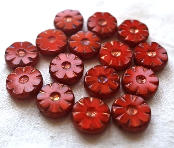 15 Czech glass flower, wheel, coin or disc beads, table cut, carved, opange red silk glass with bronze accents 12mm x 4mm, C02101 - Glorious Glass Beads