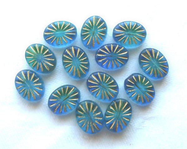 Five Oval Czech glass sunburst beads, 14 x 11mm , transparent blue green 5mm thick beads with gold accents front and back C5601 - Glorious Glass Beads