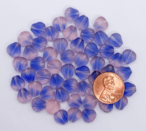 Twenty Czech glass seashell, fan or clam beads - 8mm matte blue and pink mix shell beads - C0058