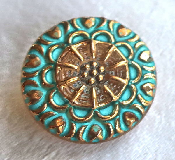 One 18mm Czech glass button, gold patterened button with a turquoise wash, verdigris look, decorative shank buttons 05201