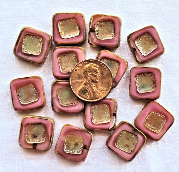 Four large opaque pink silk picasso Czech glass square beads - 14 x 14mm table cut, carved, chunky, rustic, earthy beads C00101 - Glorious Glass Beads